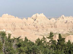 Badlands trees and peaks